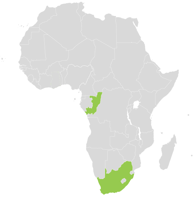 Project locations on map of Africa
